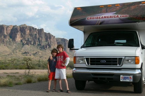USA Road Trip, Cruise America RV to the Grand Canyon, Supresticious Mountain, Mesa in the background