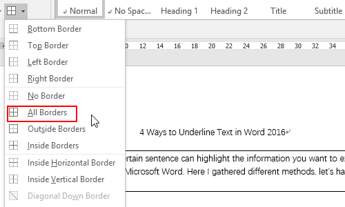 How to Add Borders to Paragraphs in Word 2016