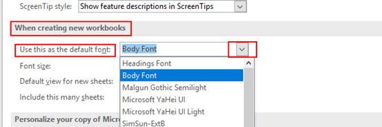 How to Set the Default Font and Size in Excel