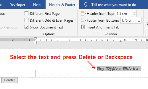 How to Remove the Page Header or Page Footer in Word 2019