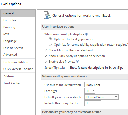 How to Change the Default Font of Excel 2019
