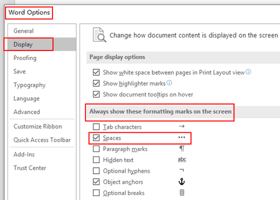 How to Display Spaces in Microsoft Word