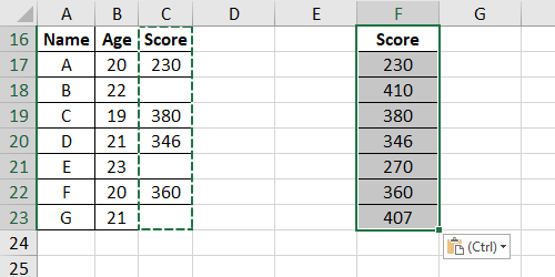 How to Paste Data Skipping Blanks in Microsoft Excel