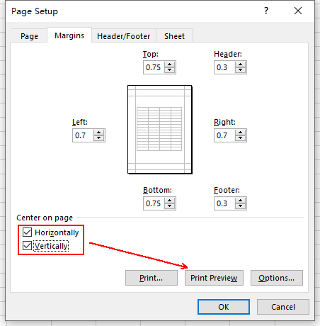 How to Print an Excel Worksheet on Center of a Page