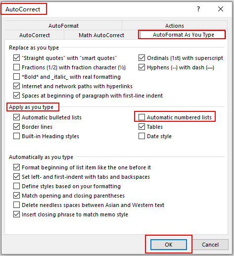 How to Turn Off and Activate Automatic Numbering in Microsoft Word