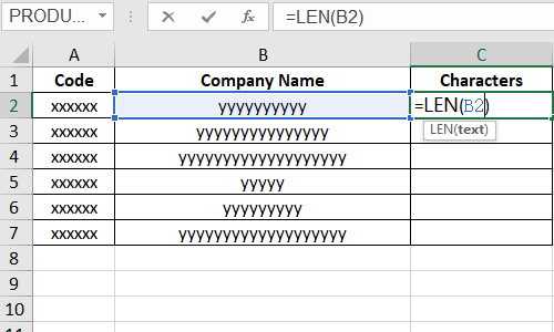 How to Sort Excel Cells by the Number of Characters