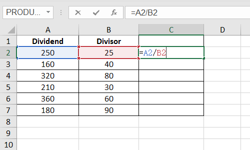 How to Quickly Divide Numbers in Excel Cells Using Formula