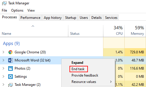 How to Force Quit a Non Responsive Program in Windows 10