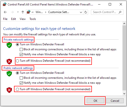 How to Turn off Windows Defender Firewall on Windows 10