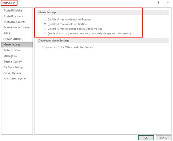 Excel VBA: Set Macro Security