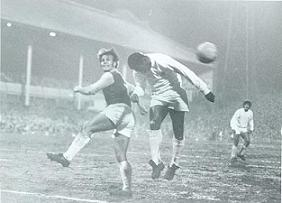 Villa's George Curtis battles it out with Pele