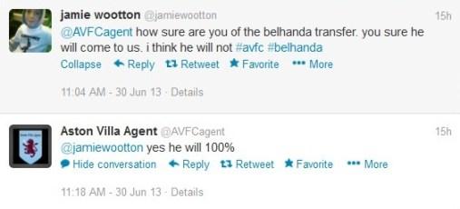 Belhanda Aston Villa ITK fake news