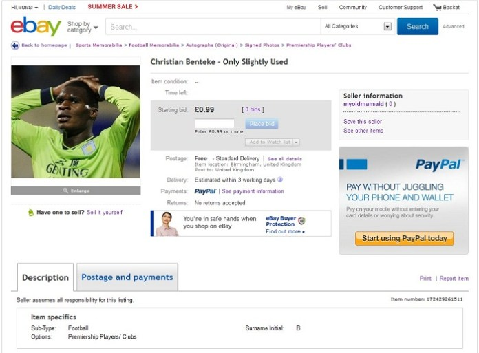 Christian Benteke Ebay Listing