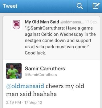 Samir Carruthers Tweet mobile villa