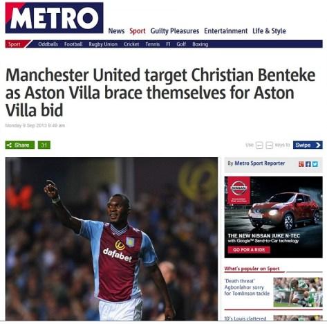 christian benteke manchester united rumour