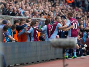 villa players celebrate