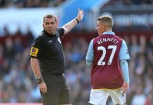 phil dowd sends off Villa player