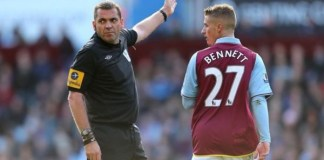 phil dowd sends off Villa player