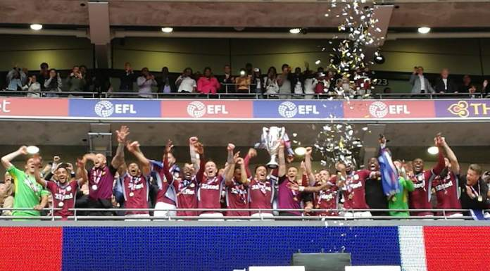 Aston Villa lift play-off trophy wembley