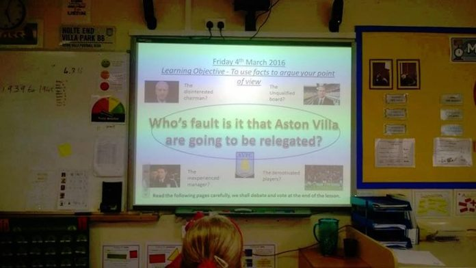 teaching aston villa at school relegated