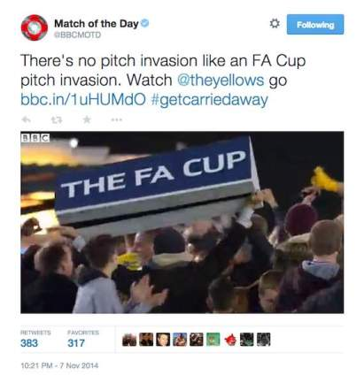 theres no pitch invasion like an FA Cup