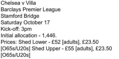 Chelsea away ticket prices