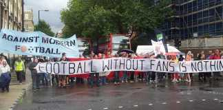 football supporters march premier league offices