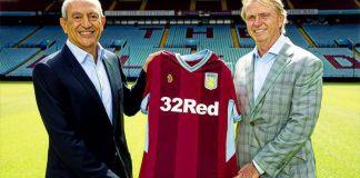 Wes Edens and Nassef Sawiris with Aston Villa shirt
