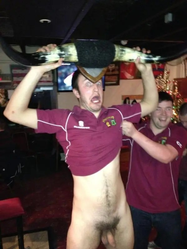 rugby player naked in pub