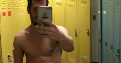 Hunk naked self pics in the dressing room (4)