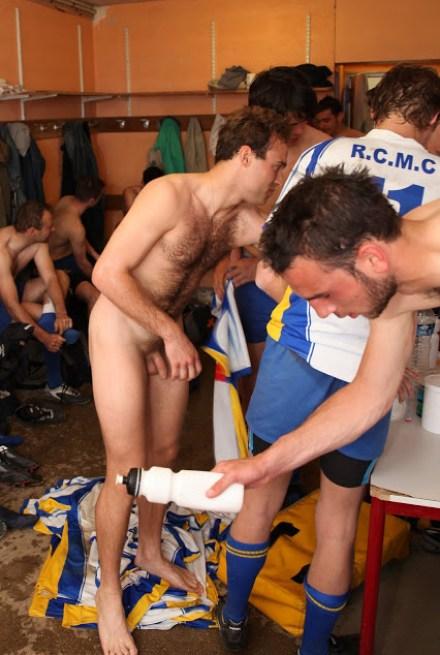 Naked-soccer players-in-locker room