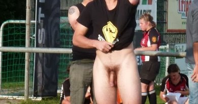 Naked rugby player