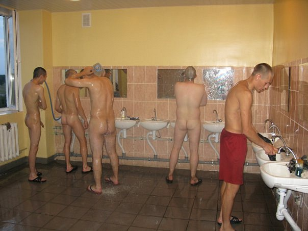 Russian soldiers naked in locker room
