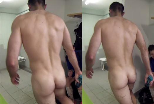 footballer naked in lockers