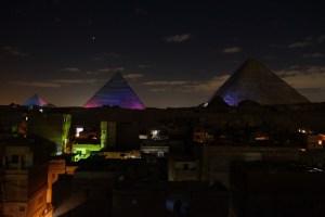 son et lumières sur les pyramides de Gizeh