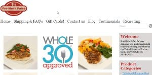 This is a screenshot of the Pre-Mede Paleo website - Premade Paleo offers a huge selection of paleo frozen foods, with multiple menus from AIP foods to exotic game meats. In this article we cover Pre Made Paleo's frozen meal options, as well as linking to their paleo frozen meals reviews. If you are ok with receiving your Paleo meals frozen, or even if you would prefer refrigerated Paleo meals, Pre Made Paleo has you covered with their large range of options. One thing that makes Pre Made Paleo stand apart is their approval by the Whole 30 organization, so they are a great choice when looking for Whole 30 compliant frozen meals. If you are looking for slightly non-traditional paleo tv dinners, Pre Made Paleo is worth checking out, they offer a wide array of Paleo freezer meals worth considering. If you are in the market for healthy frozen meals, Pre Made Paleo is a great choice for that as well.