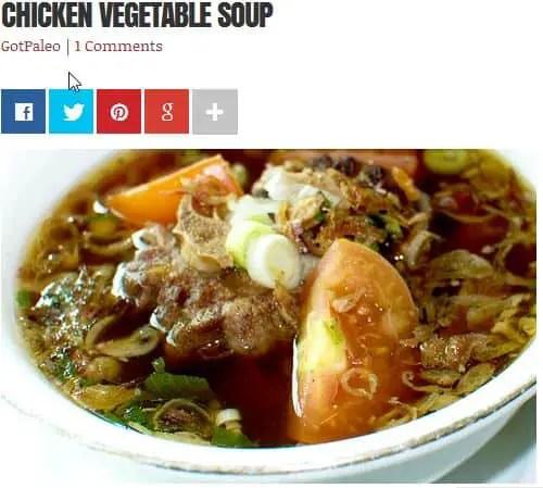 Chicken Vegetable Soup from The Paleo Diet (Dr. Loren Cordain) – Chicken, No Broth Required