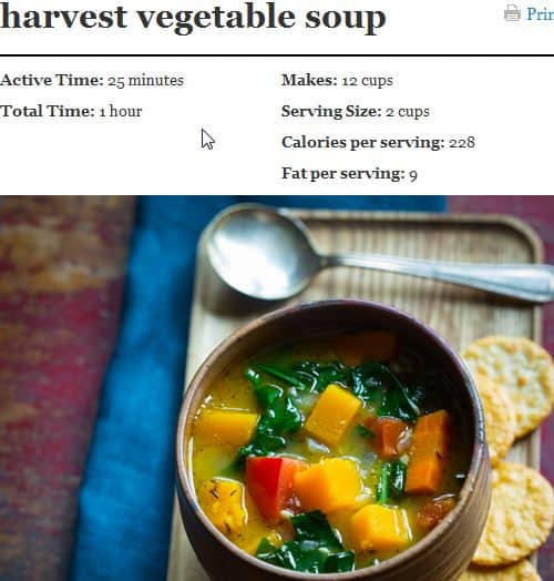 Harvest Vegetable Soup from Healthy Seasonal Recipes – Paleo Vegan Option (use vegetable broth), Spicy, Wine