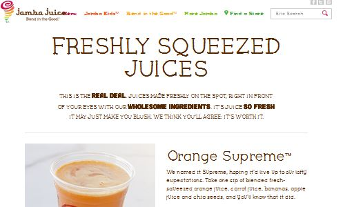 Screenshot of Jamba Juice Website - Jamba Juice is a nationwide juice chain now offering paleo friendly fast food paleo fresh pressed juice options - something to consider when on the go for a paleo snack (Jamba Juice does have hundreds of locations nationwide)