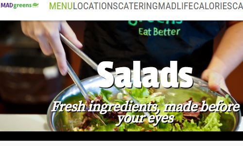 Screenshot of the Mad Greens Site - Mad Greens is a healthy salad and fresh juice chain focused on the US southwest at the moment. Of note is that they do offer customizable salads and offer one of the best paleo fast food options in those areas (other than specialized paleo businesses). If you are looking for paleo fast food options, it's definitely worth checking out Mad Greens. As long as you are careful with what you order, it is definitely possible to get something fully paleo there.