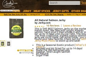 Screenshot of the jerky.com home page - They offer a wide array of jerkys, including salmon Jerky and even specialty fish jerkies like trout jerky. If you like your salmon dry, their selection of sun dried fish is pretty impressive.
