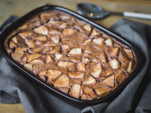 Chocolate and pear French clafoutis