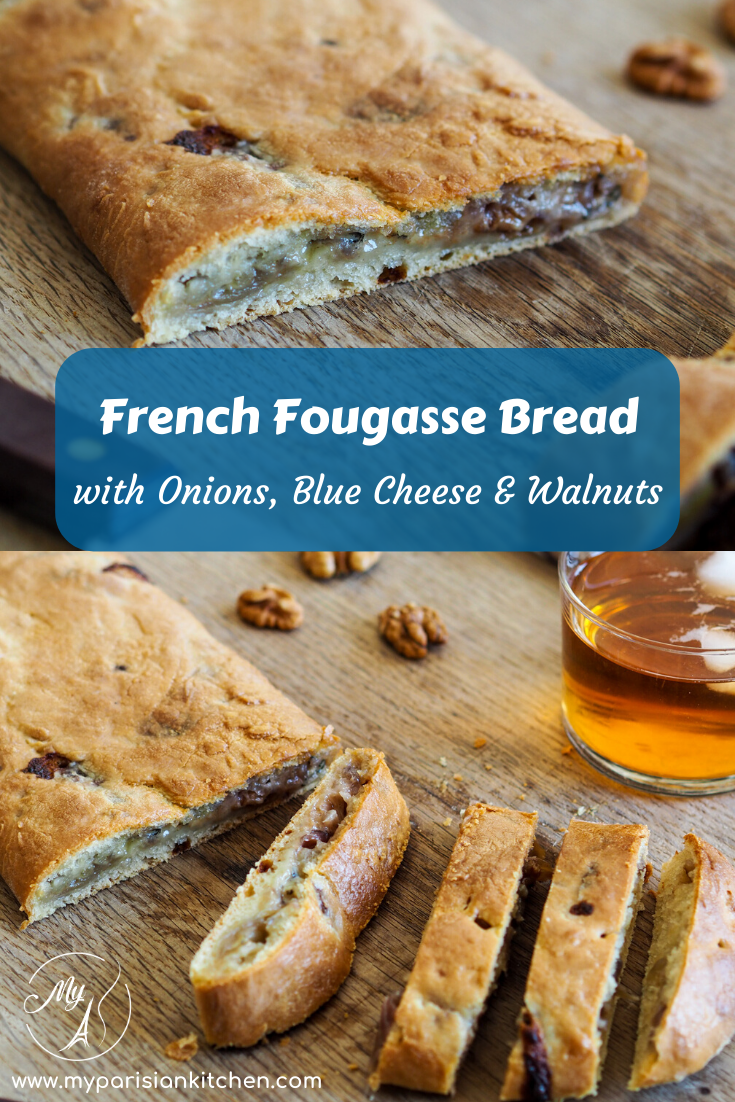 French Fougasse bread with caramelized onions, Blue cheese and walnuts