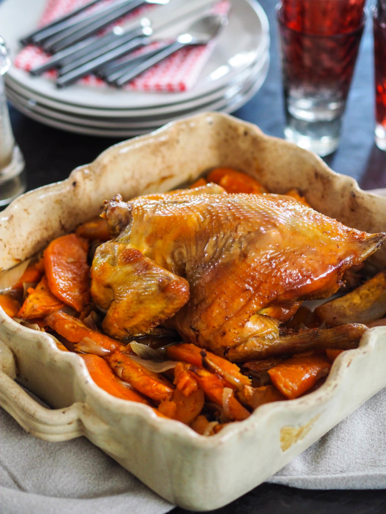 oven roast chicken with sweet potatoes and onion