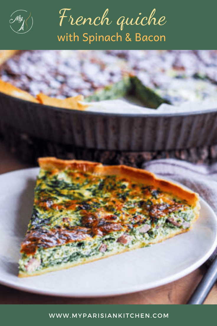 Spinash and bacon quiche French savory tart