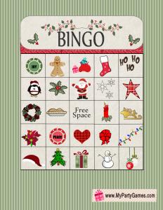 Free Printable Christmas Bingo Game Card 13