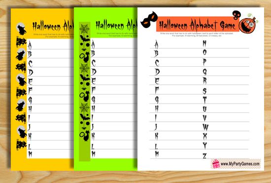 Free Printable Halloween Alphabet Game