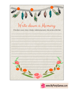 Memory with the Bride Game Tribal Design Printable