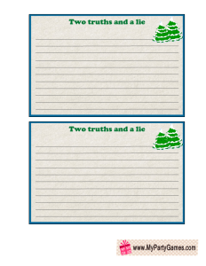 Free Printable Two truths and a Lie Game Cards decorated with Christmas trees