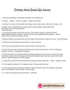 Free Printable Christmas Movie Quotes Quiz Answer Sheet